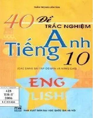 Tải sách: 40 Đề Trắc Nghiệm Tiếng Anh 10