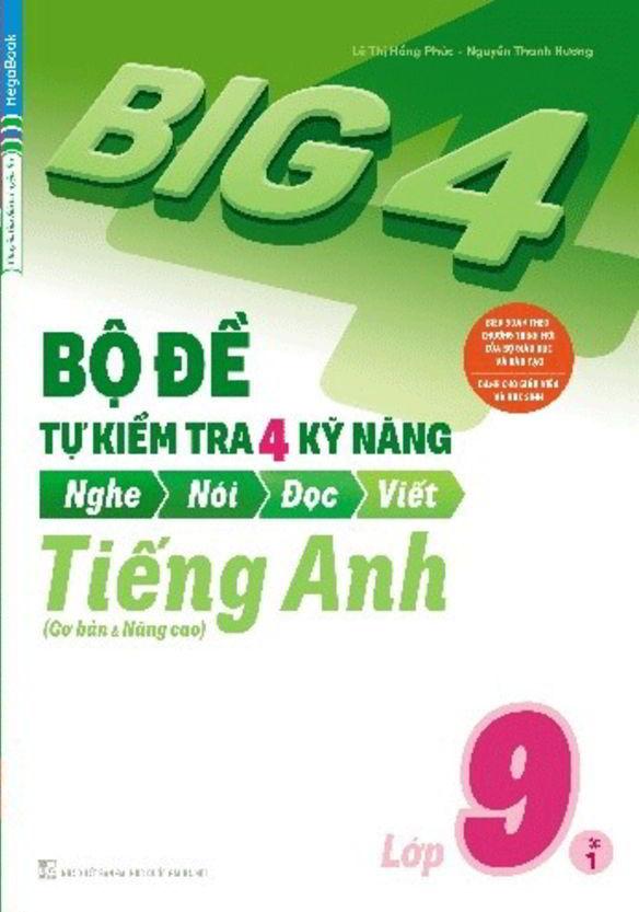Tải sách: Big 4 bộ đề tự kiểm tra 4 kỹ năng tiếng anh 9 tập 1,2