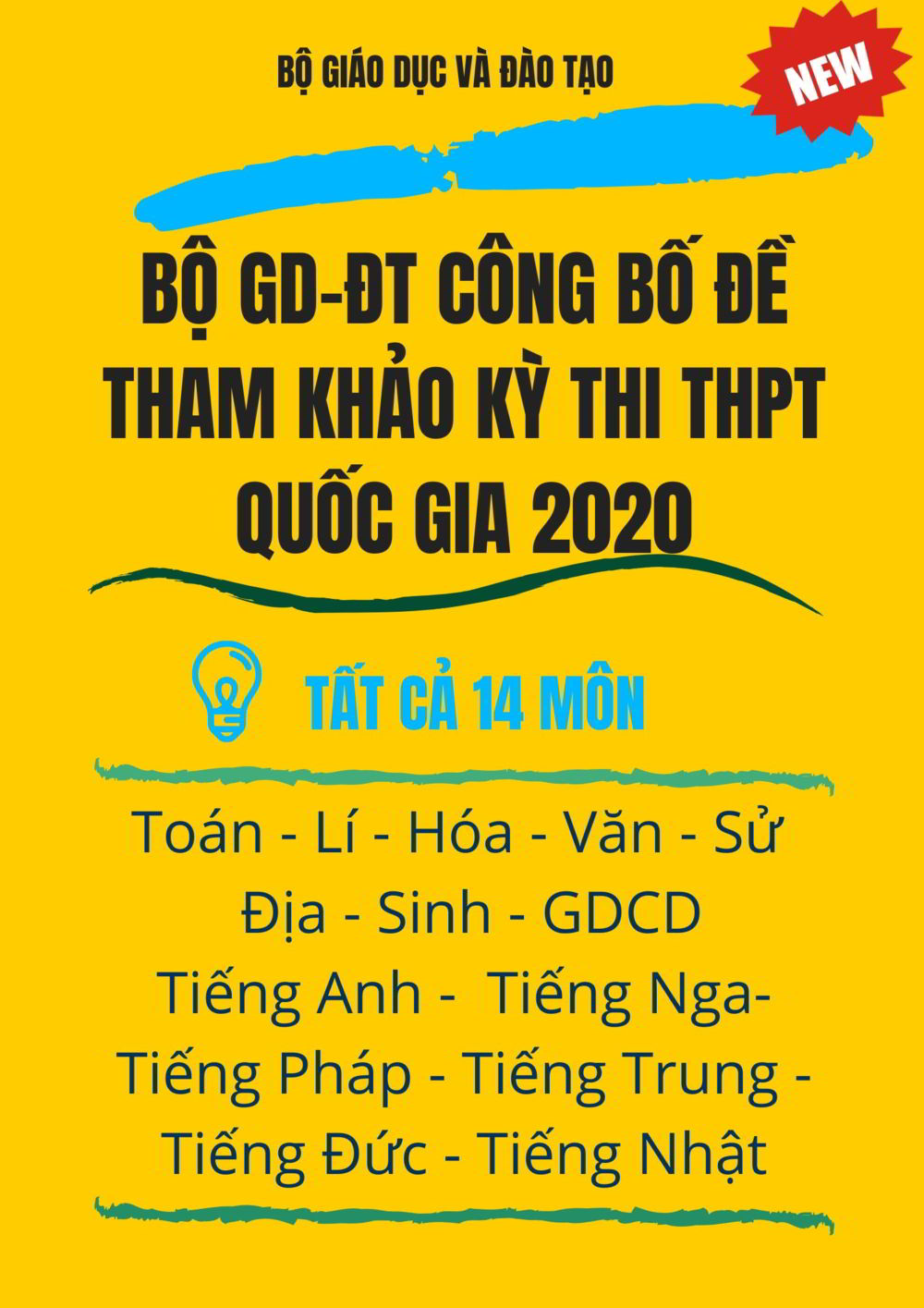Tải sách: Bộ GD-ĐT công bố đề tham khảo kỳ thi THPT quốc gia 2020